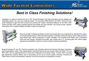 Royal Sovereigns Wide Format Roll Laminators Machine – PrintFinish.com