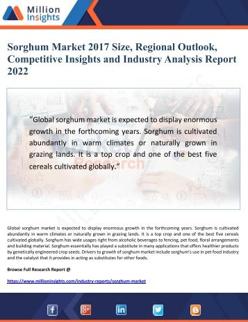 Sorghum Market 2017 Size, Regional Outlook, Competitive Insights and Industry Analysis Report  to 2022