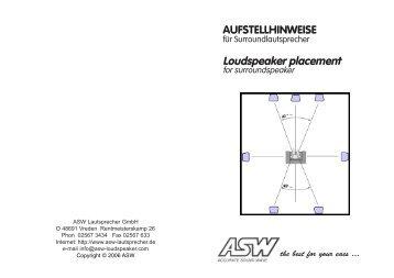 AUFSTELLHINWEISE Loudspeaker placement - ASW
