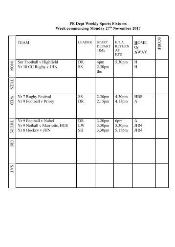 Fixtures 27 Nov