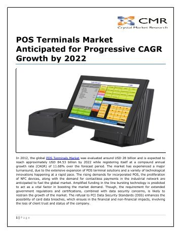 POS Terminals Market Anticipated for Progressive CAGR Growth by 2022