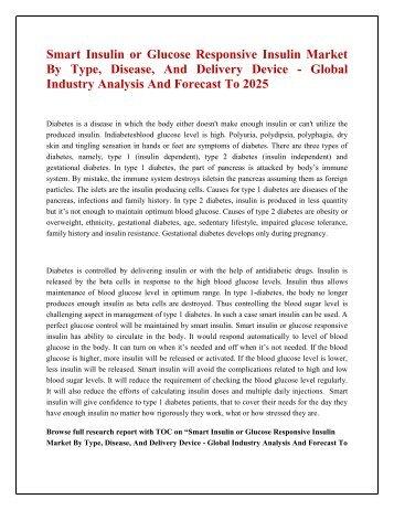 Smart Insulin or Glucose Responsive Insulin Market
