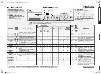 KitchenAid Prestige 1600 - Prestige 1600 NL (855491112890) Scheda programmi