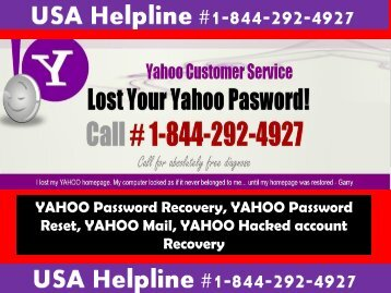 Yahoo Password Recovery Helpline +1-844-292-4927 USA