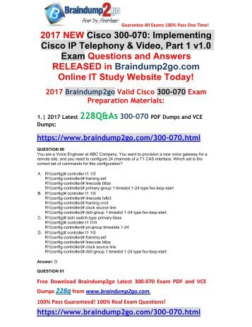 (2017-Nov-Version)New Official 300-070 PDF Dumps 228Q&As Free Share(Q90-Q102)