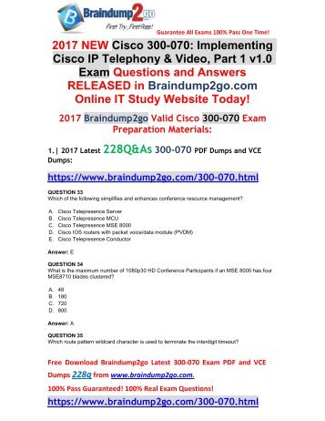 (2017-Nov-Version)New Official 300-070 VCE and 300-070 PDF Dumps 228Q&As Free Share(Q33-Q43)