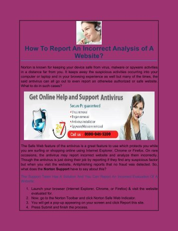 How To Report An Incorrect Analysis of A Website