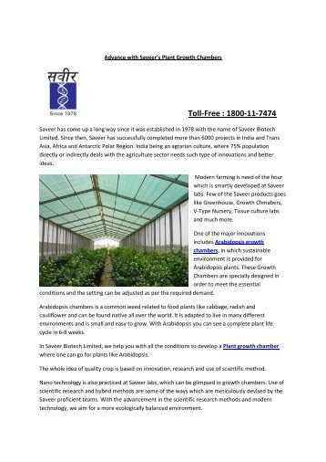 Advance with Saveer's Plant Growth Chambers