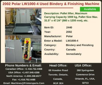 Buy Used 2002 Polar LW1000-4 Bindery and Finishing Machine