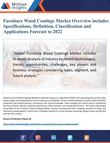 Furniture Wood Coatings Industry 2017 Market Research Report Driving Factors, Challenges, Sales
