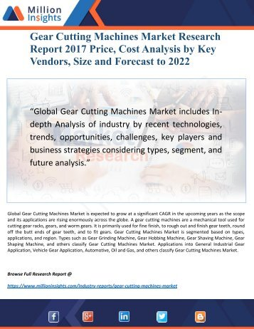 Gear Cutting Machines Industry 2017 Market Research Report and Development Trends