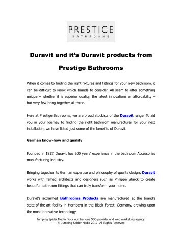 Duravit and it's Duravit products from Prestige Bathrooms