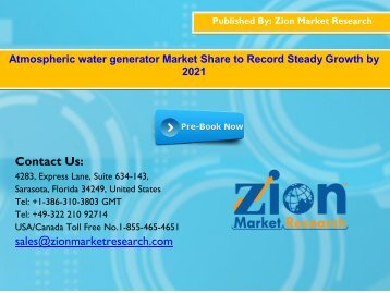 Global Atmospheric water generator Market, 2015 – 2021