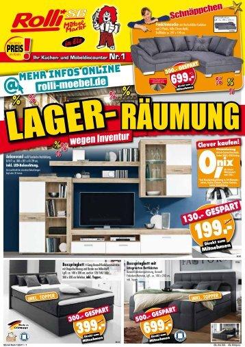 Jetzt Preisvorteile nutzen: Lager-Räumung wegen Inventur bei Rolli SB Möbelmarkt in 65604 Elz bei Limburg