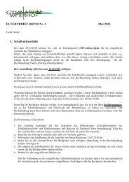 ELTERNBRIEF 2009/10 Nr. 4 Mai 2010 1. Schulbuchausleihe