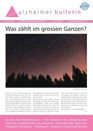 Was zählt im grossen Ganzen? – Alzheimer-Bulletin 2/2017