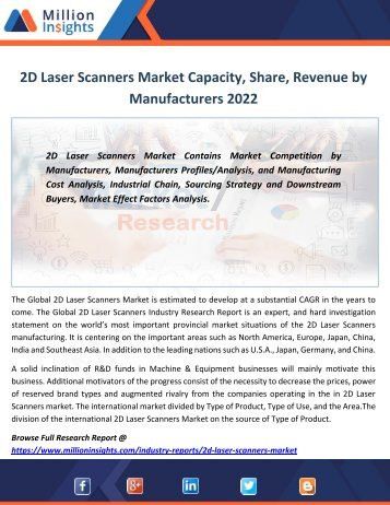 2D Laser Scanners Market Capacity, Share, Revenue by Manufacturers 2022