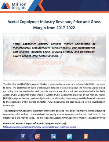 Acetal Copolymer Industry Revenue, Price and Gross Margin from 2017-2022