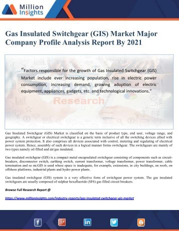 Gas Insulated Switchgear (GIS) Market Major Company Profile Analysis Report By 2021