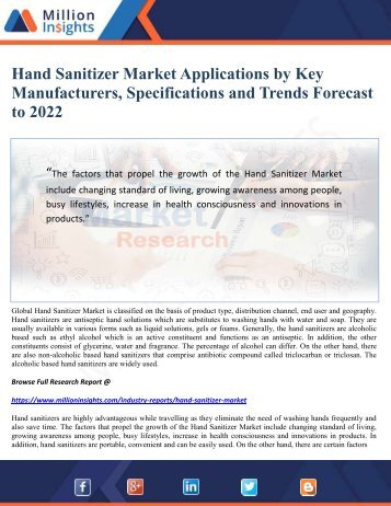 Hand Sanitizer Market Applications by Key Manufacturers, Specifications and Trends Forecast to 2022