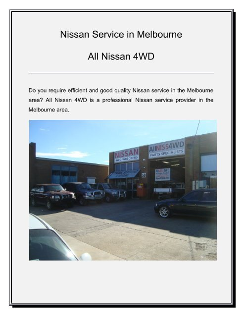 Nissan Service Melbourne | All Nissan 4WD