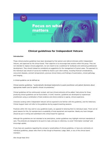 Clinical guidelines 2017 (Independent Vetcare)