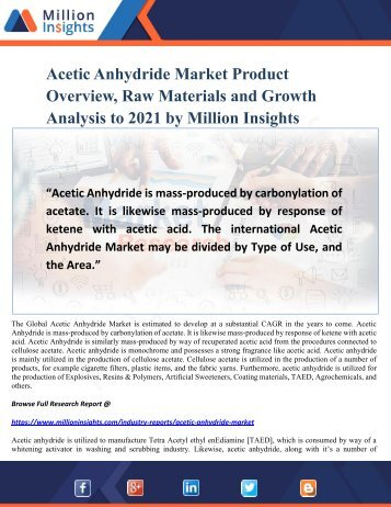 Acetic Anhydride Market Product Overview, Raw Materials and Growth Analysis to 2021 by Million Insights