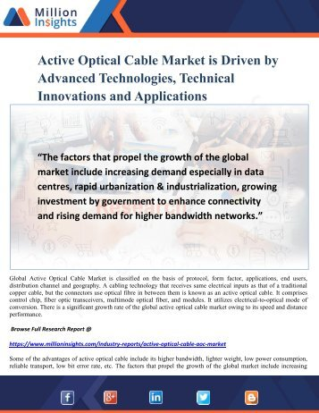 Active Optical Cable Market is Driven by Advanced Technologies, Technical Innovations and Applications