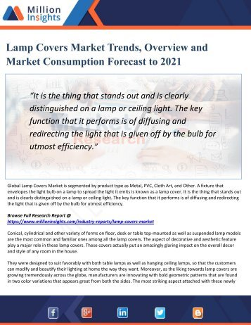 Lamp Covers Market Size and Gross Margin Analysis to 2021 by Million Insights