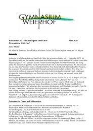 Elternbrief Nr. 5 im Schuljahr 2009/2010 Juni 2010 Gymnasium ...