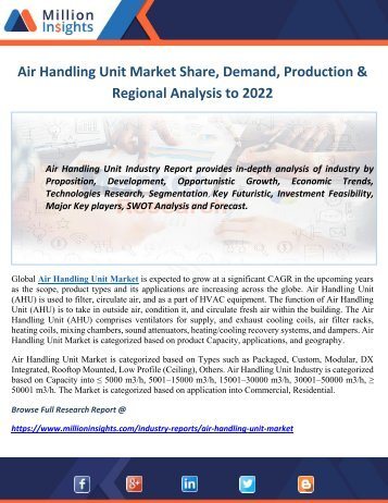 Air Handling Unit Market Share, Market Size & Trends Forecast to 2022