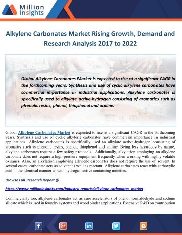 Alkylene Carbonates Market Rising Growth, Demand and Research Analysis 2017 to 2022