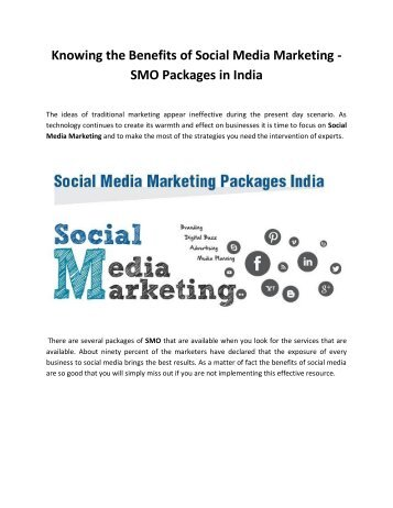 Social Media Marketing - SMO Packages in India