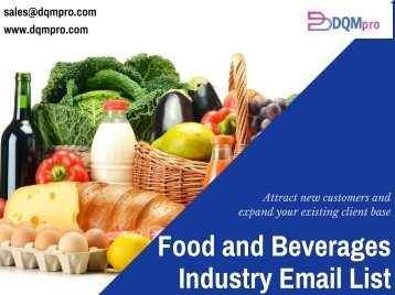 Food and Beverages Industry Email List | Mailing Database