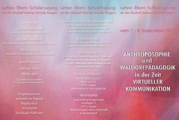Tagungsprogramm - Rudolf-Steiner-Schule Siegen Freie ...