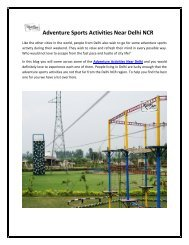 Adventure Sports Activities Near Delhi NCR