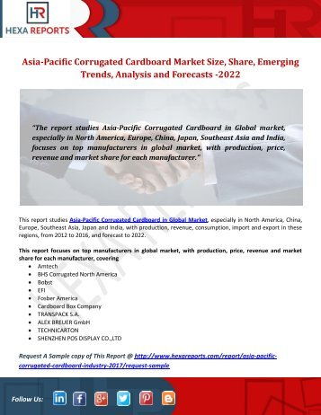 Asia-Pacific Corrugated Cardboard Market Size, Share, Emerging Trends, Analysis and Forecasts 2022