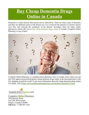 Buy Cheap Dementia Drugs Online in Canada