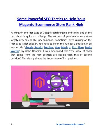 Some Powerful SEO Tactics to Help Your Magento Ecommerce Store Rank High