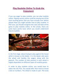 Play Roulette Online To Grab the Enjoyment