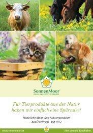 SonnenMoor Produktkatalog für Tiere