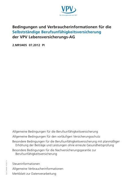 Bedingungen und Verbraucherinformationen für die ... - VPV Makler