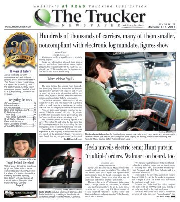 The Trucker Newspaper - December 1, 2017