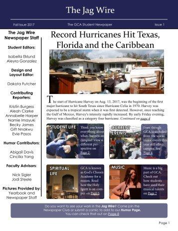 GCA newspaper - Issue 1 - Fall 2017
