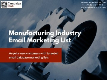 Manufacturing Industry Email Marketing List | Industrial Mailing Database