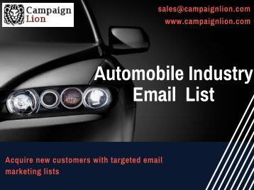 Automobile Industry Email Marketing List| Buy Automotive Mailing Lists