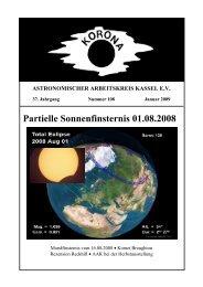 Partielle Sonnenfinsternis 01.08.2008 - Sternwarte Calden Kassel