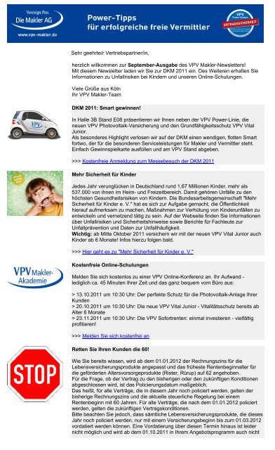 Newsletter September 2011 (PDF) - VPV Makler