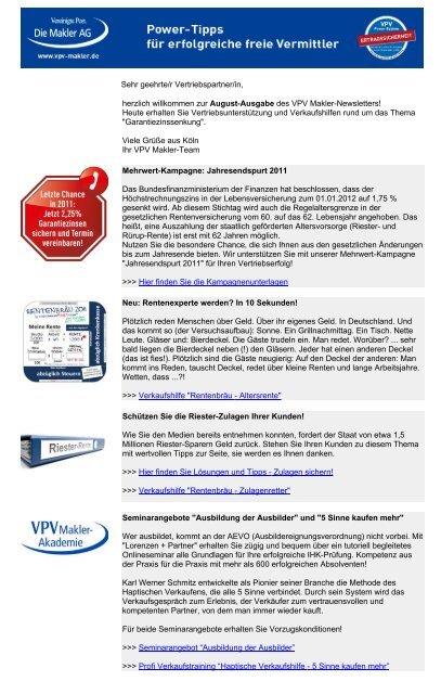 Newsletter August 2011 - VPV Makler