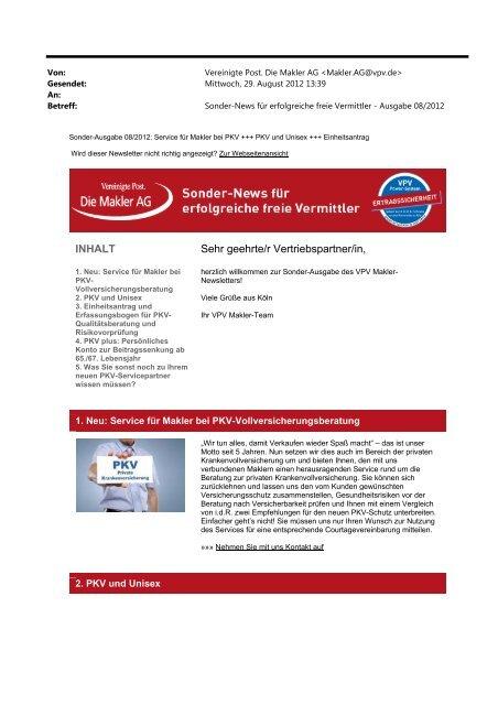 Sonder-Newsletter August 2012 (PDF) - VPV Makler
